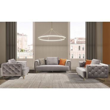 Jean Gray Velvet Modern Sofa Set