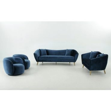 Jerico Navy Modern Sofa Set