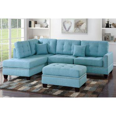 Joela Blue Linen Sectional Set,Joela Reversible Sectional