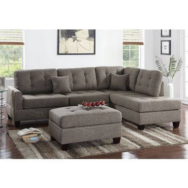 Joela Coffee Linen Sectional Set