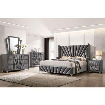 Josie Grey Velvet Modern Bed