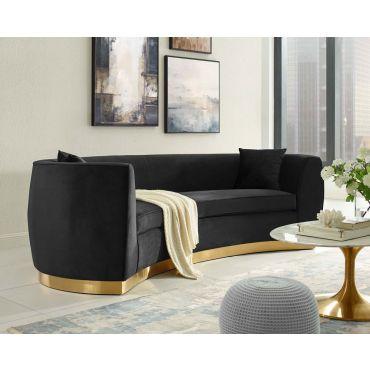 Antonsen Black Velvet Sofa Gold Base