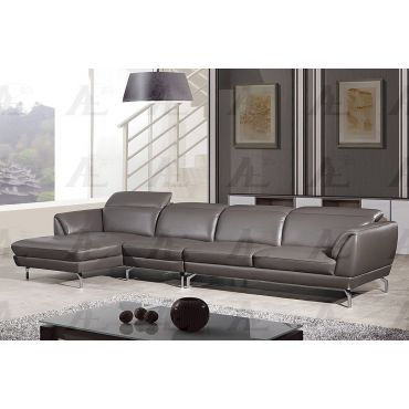 Maxell White Leather Modern Sectional Set