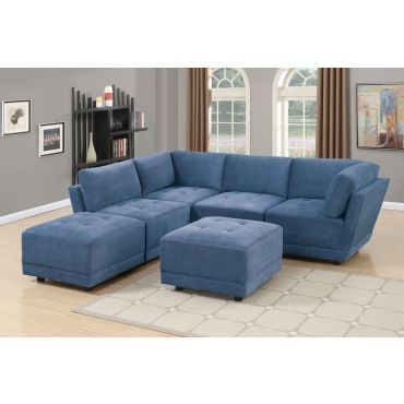 Kala Blue Suede Modular Sectional Set