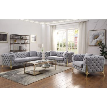 Kalmia Grey Tufted Velvet Sofa Gold Legs