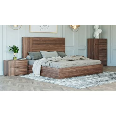 Karel Rustic Walnut Platform Bed