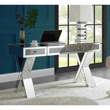 Karyn Mirrored Office Desk With Crystal Accents
