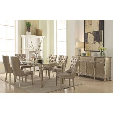 Kasella Mirrored Dining Table Champagne Finish