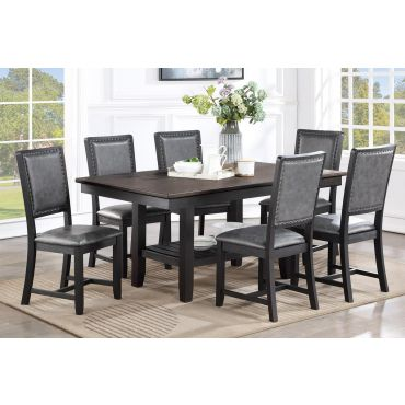 Keely Rustic Black Dining Table Set