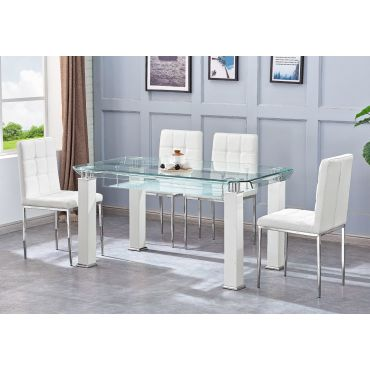 Ketch White Modern Glass Top Table
