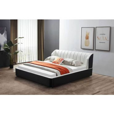 Kiara Black and White Platform Leather Bed