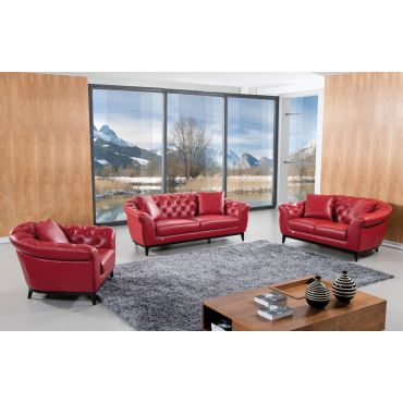 Kira Italian Red Leather Sofa Set
