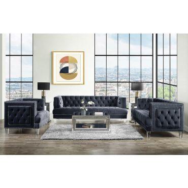 Kitts Black Tufted Velvet Sofa Acrylic Legs