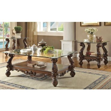 Kodie Traditional Glass Top Coffee Table