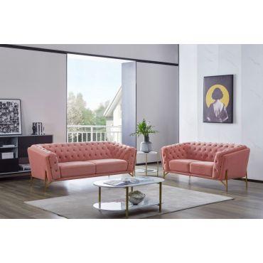 Koger Modern Sofa Set Pink Velvet