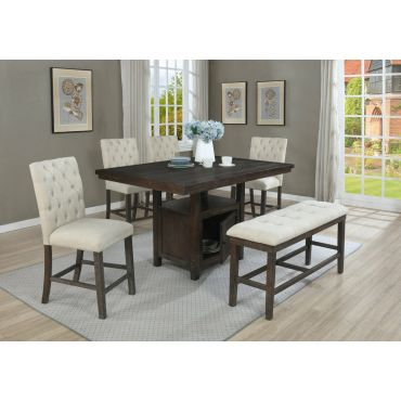 Lancaster Rustic Finish Counter Height Table Set
