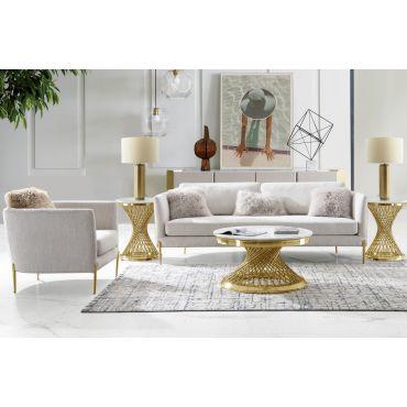 Roxy Modern Sofa Gold Finish Legs