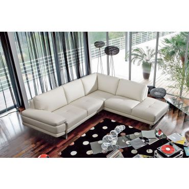 Lara White Leather Modern Sectional