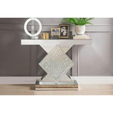 Larock Crystal Accented Mirrored Console
