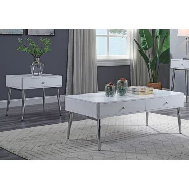 Larson Storage Coffee Table White Lacquer