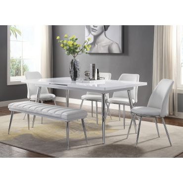 Larson Extendable Dining Table White Lacquer