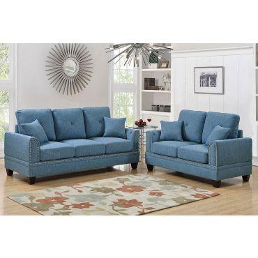 Laurel Sofa Set Blue Fabric