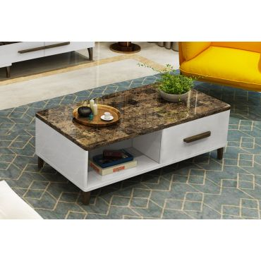 Raeburn White Coffee Table With Drawers