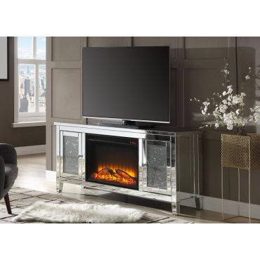 Laylah Mirrored TV Stand Fireplace