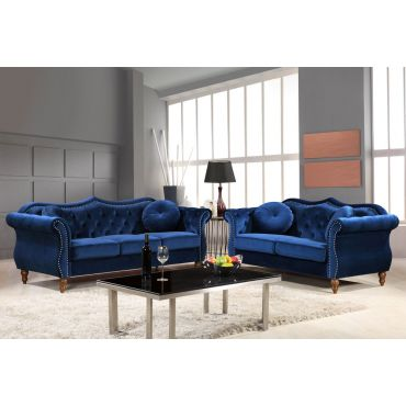 Lazo Blue Velvet Traditional Sofa