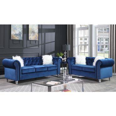 Lazo Blue Velvet Chesterfield Sofa Set