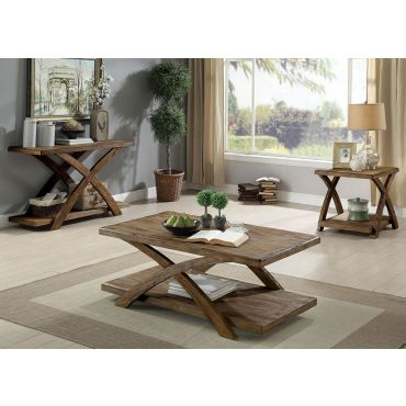 Leandra Rustic Oak Finish Coffee Table Set