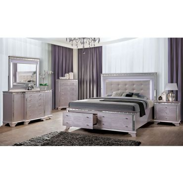 Legion Storage Bed Rose Silver Finish