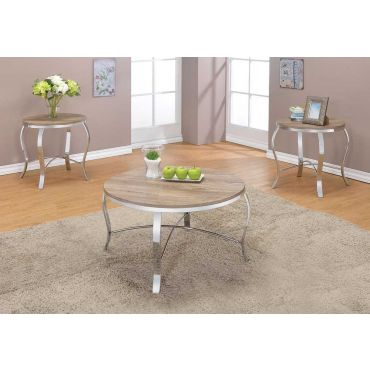 Lanar Rustic Oak Modern Coffee Table Set