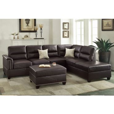 Lenny Espresso Leather Sectional Sofa