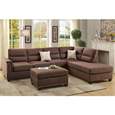 Lenny Chocolate Linen Sectional Sofa