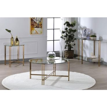 Leven Gold Finish Coffee Table