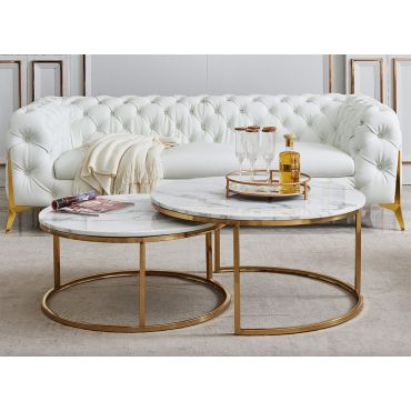 Lia Marble Coffee Table With Nesting Table