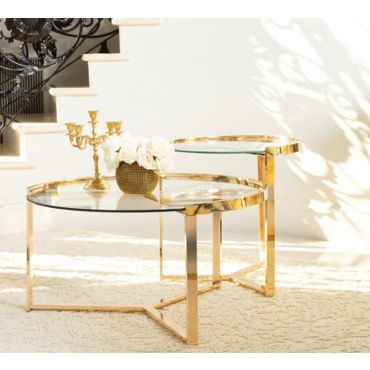 Lillian 2-Piece Gold Finish Coffee Table Set