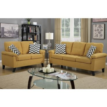 Lily Yellow Linen Fabric Sofa Set