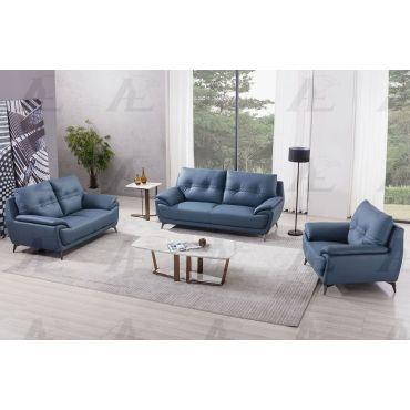 Lina Blue Leather Sofa