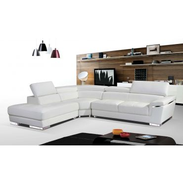 Linda White Leather Modern Sectional