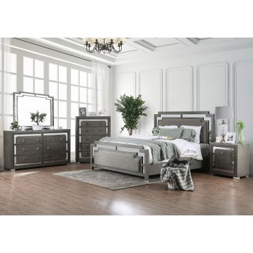 Linton Mirrored Accent Contemporary Bed