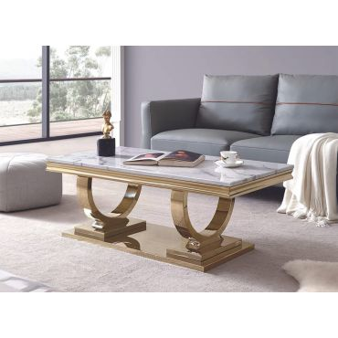 Lippa Marble Top Coffee Table Gold Finish