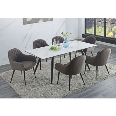 Lisbon Faux Marble Top Dining Table
