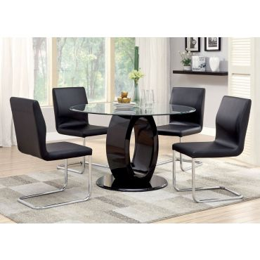 Lodia Black Round Dining Table Set