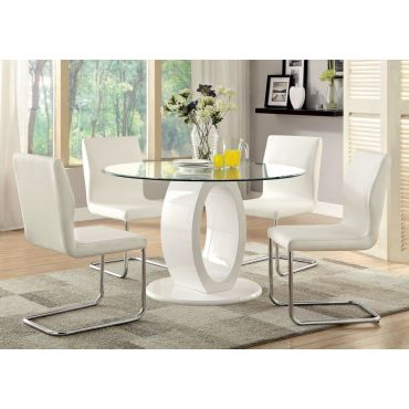 Lodia White Round Modern Table Set