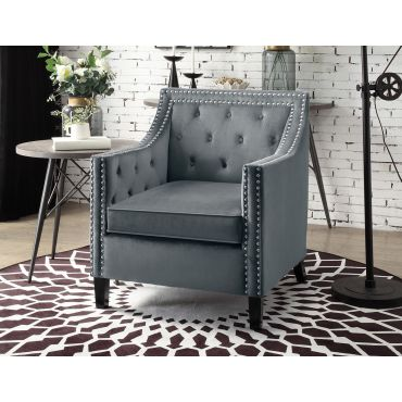 Lodovico Grey Velvet Accent Chair