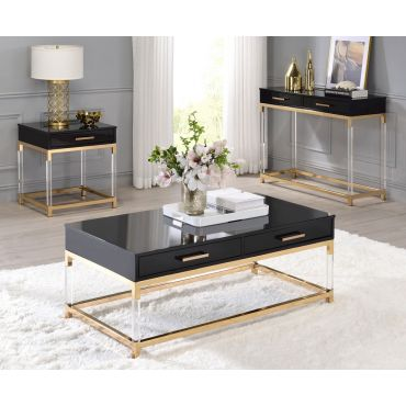 Logan Black and Gold Coffee Table Set