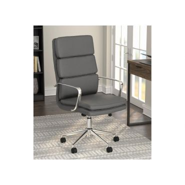 Lombardo Grey Leather Office Chair