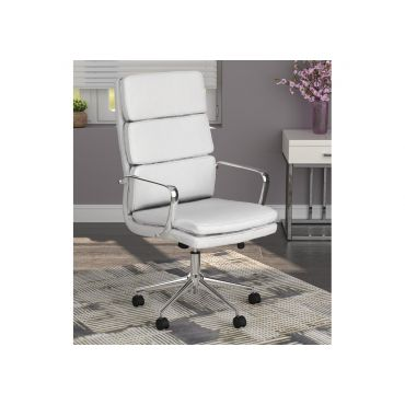 Lombardo White Leather Office Chair